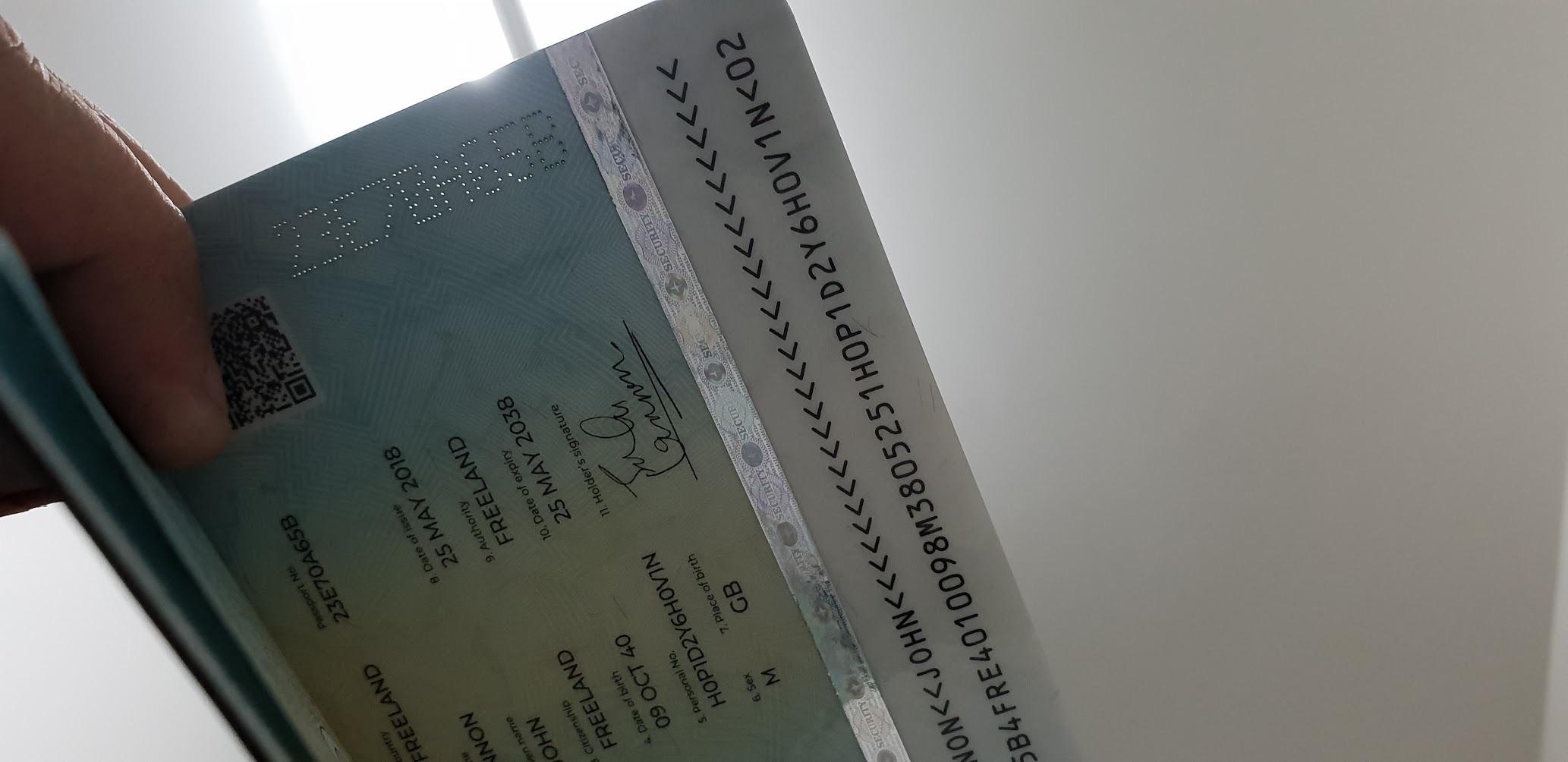 Прожигание номера паспорта сквозь все страницы, включая индивидуальную