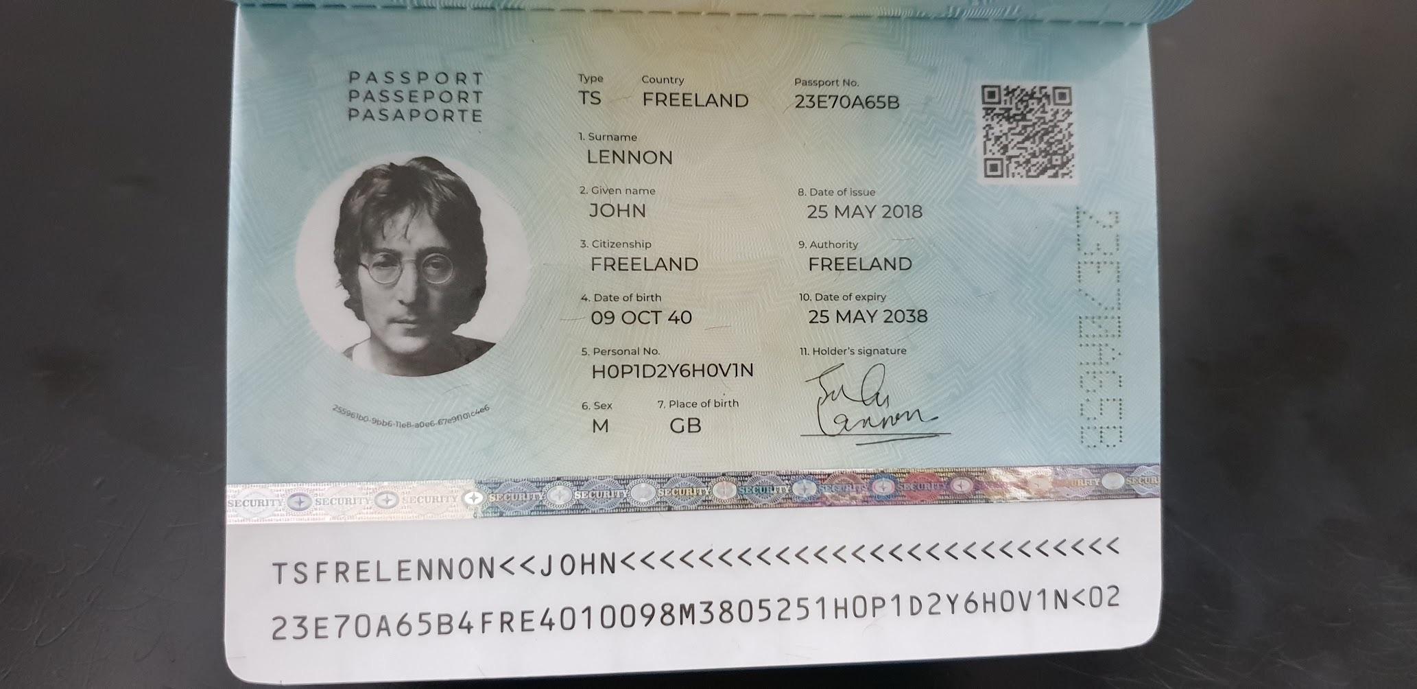 MRZ и персональные данные демонстрационного паспорта на имя Джона Леннона
